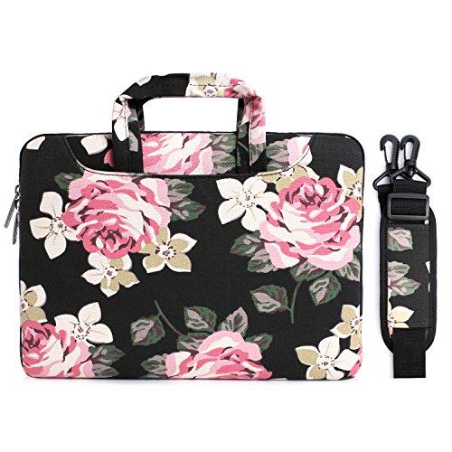 MOSISO Laptop Shoulder Bag Compatible 13-13.3 Inch MacBook Pro, MacBook Air, Surface Book, Notebook Computer, Canvas Rose Pattern Laptop Shoulder Messenger Handbag Case Cover Sleeve, Black