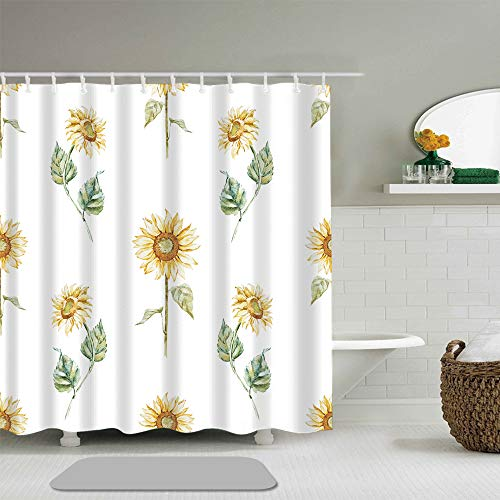 (Abili Shower Curtain Hand Painted Sunflower Background Bathroom Accessories Waterproof Polyester Fabric 72 x 72 inches Set with Hooks )