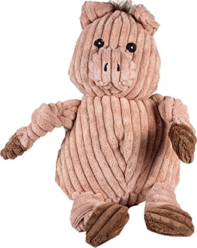 HuggleHounds Plush Corduroy Durable Knotties Pig Dog Toy, Pink/Brown, Large