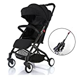 Babyroues Roll & Go Travel Friendly Stroller, Large Extendable Canopy, Lightweight and Compact, perfect from newborn to 4 years old and Up (Black)
