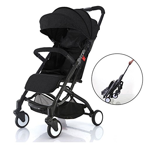 Babyroues Roll & Go Travel Friendly Stroller, Large Extendable Canopy, Lightweight and Compact, perfect from newborn to 4 years old and Up (Black) by Baby Roues