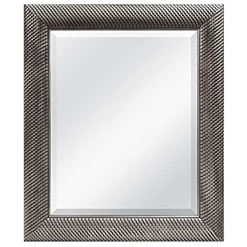 Beau MCS 16x20 Inch Wall Mirror, 22x28 Inch Overall Size, Antique Silver (47692)