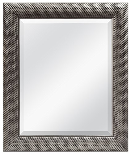 MCS 16x20 Inch Wall Mirror, 22x28 Inch Overall Size, Antique Silver (47692) by MCS