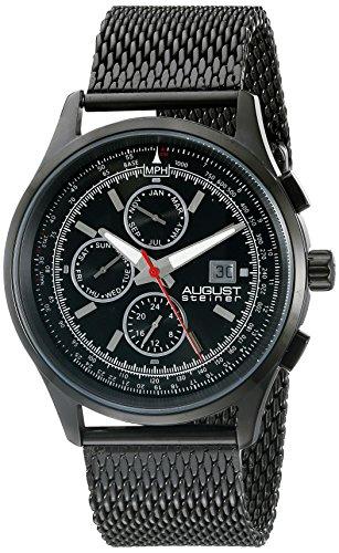 August Steiner Men's AS8194BK  Round Black Radiant Sunburst Dial Two Time Zone Quartz Black Bracelet Watch
