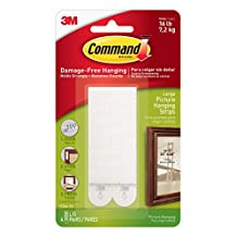 Command Large Picture-Hanging Strips, White, 4-Strip