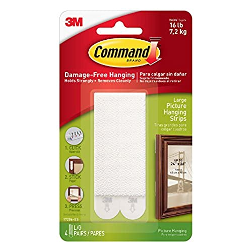 Command Picture And Frame Hanging Strips, Large, White, 4 Pairs (17206 ES)