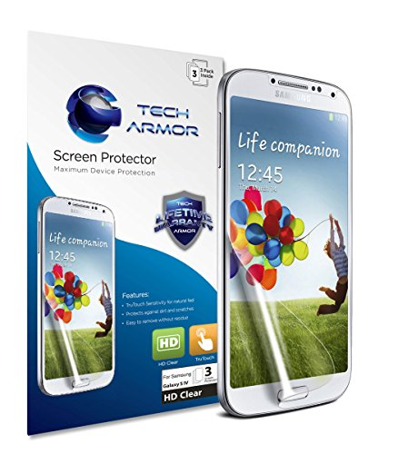 51pjb960ftL Galaxy S4 Screen Protector, Tech Armor High Definition HD-Clear Samsung Galaxy S4 Screen Protector [3-Pack].