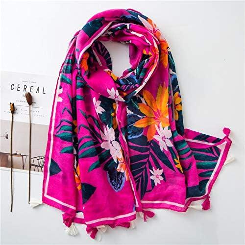 CUHSPOL pañuelo de seda Bufanda de algodón para mujer forrada de plantas tropicales toalla de playa costera con flecos de color mujeres: Amazon.es: Amazon.es