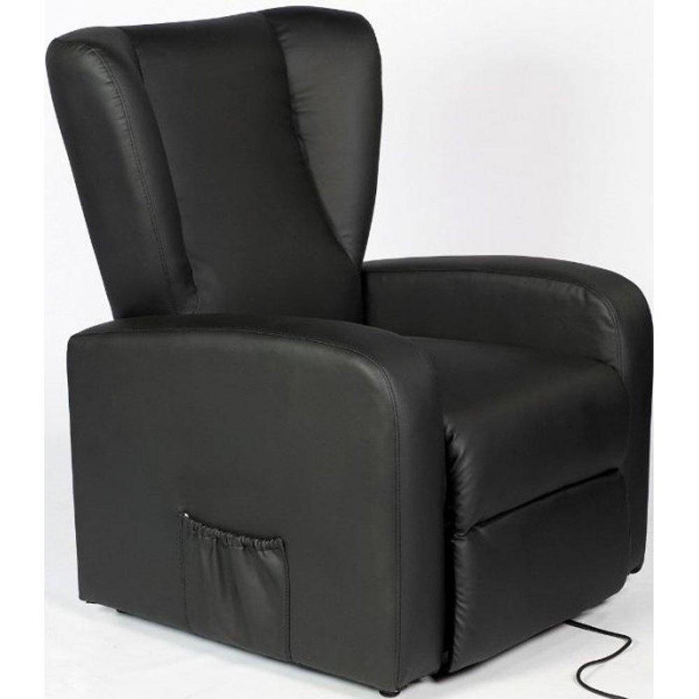 Relaxsessel mit Aufstehhilfe und 2 Motoren Bergère. Bezug aus schwarzem Kunstleder