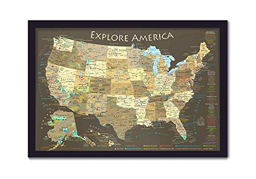 Explore America USA Map with National Parks, Landmarks, Highest Peak by State - Framed Push Pin Map and includes 100 Map Pins (Best National Park Roadtrip)