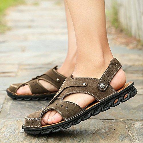 e Brown traspiranti EU da Khaki coperto uomo pelle Size sandali spiaggia la all'aperto per per 40 adatti Sandali regolabili al in libero antiscivolo tempo sandali Color il n4wBqdFH