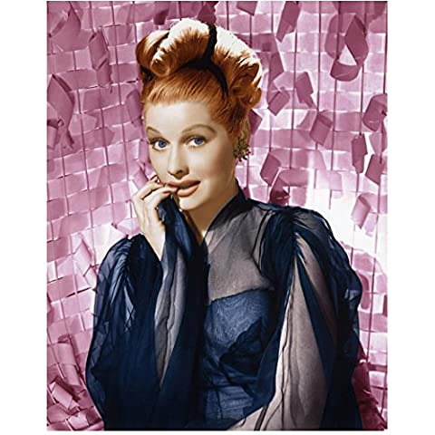 Lucille Ball Posing in Blue Sheer Gown Biting Finger Tips 8 x 10 Photo (Comedy Tips)