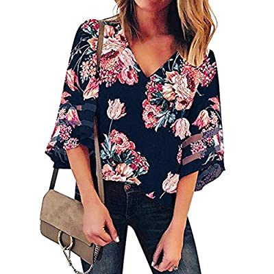 Holata Women's T-Shirt V Neck Print Mesh Panel Blouse 3/4 Bell Sleeve Loose Top Shirt