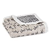 Aden + Anais Silky Soft Dream Blanket, 100% Viscose Bamboo Muslin, 4 Layer Lightweight and Breathable, 47 X 47 inch, Sahara Motif - Giraffe/Zebra