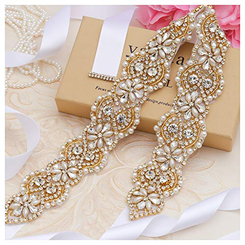 Yanstar Wedding Bridal Belts In Gold Rhinestone Crystal Pearl With White Sash For Wedding Dress Prom Gown-17.7In1.6
