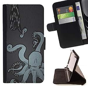 Momo Phone Case / Flip Funda de Cuero Case Cover - Arte de la pintura de la serpiente de mar Kraken - Apple Iphone 5C