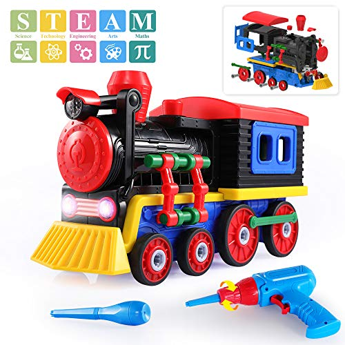 TEMI Take Apart Toys Train Set, STEM Construction Toys Kit w/ Sounds & Lights, Educational Playset w/ Battery Powered Drill & Tools for Kids Boys Girls 3 Years Old and up - Build Your Own Train Toys (Educational Train)