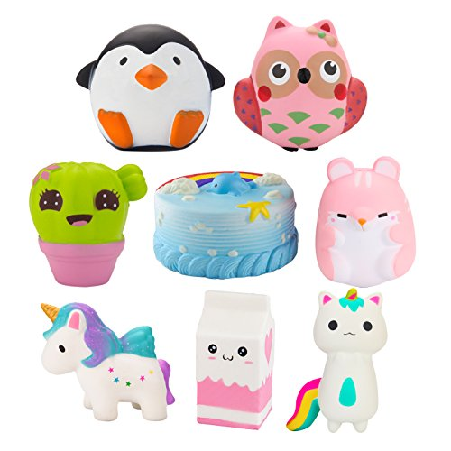 Grobro7 Random 6Pcs Kawaii Animal Slow Rising Squishy, Scented Soft Stress Relief Toy, Decorative Gift for Kids Party Toy, Including Cute Milk Cup, Penguin, Pink Hamster, Dolphins Cake, Cactus and Owl by Grobro7