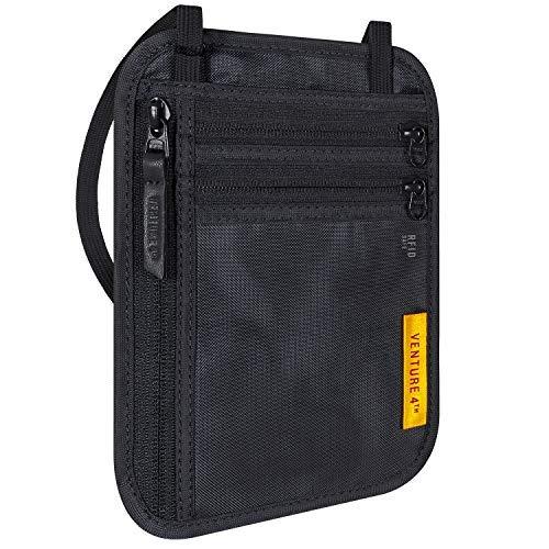 VENTURE 4TH Travel Wallet | RFID Passport Holder | Security Neck Pouch (Black)