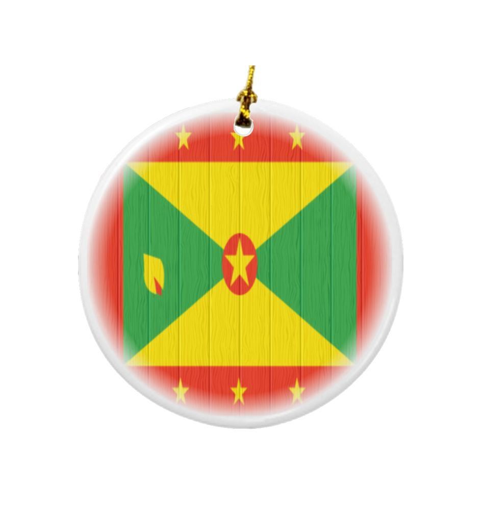 Rikki Knight Grenada Flag on Distressed Wood Design Round Porcelain Two-Sided Christmas Ornaments by Rikki Knight (Image #1)