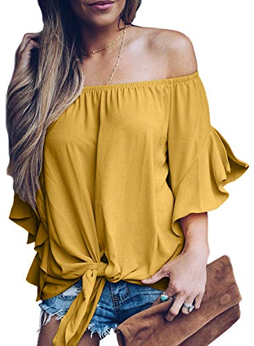 - Asvivid Womens Solid Off The Shoulder Flare Sleeve T-Shirt Tie Knot Blouses and Tops Small Yellow