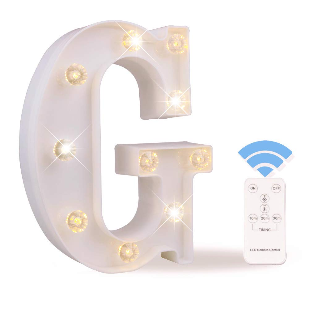 Obrecis White Light Up Marquee LED Letter Sign with Remote Timer Dimmable for Party Wedding Decor, Alphabet Wall Decoration Letter Lights, Letter G
