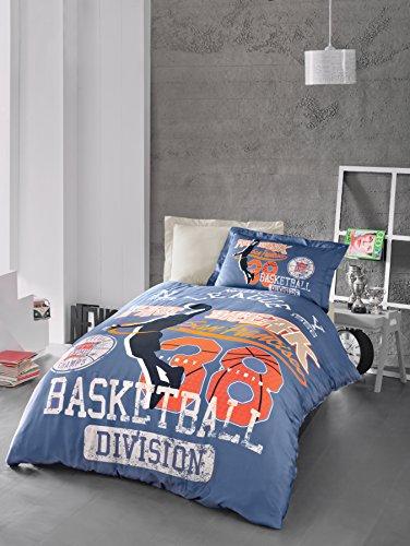 San Francisco Fast Break Basketball Bedding Set, Quilt/Duvet Cover Set, 100% Cotton, Exclusive Luxury Special Design, Blue, Single/Twin
