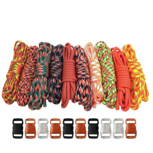 PARACORD PLANET 550lb Type III Paracord Combo Crafting Kits with Buckles for Friendship Bracelets and Beginners (ORANGE)