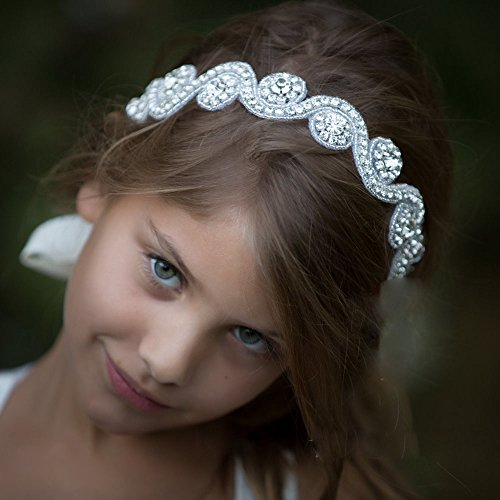 FXmimior Head Piece Flower Girl Wedding Crystal Rhinestones Headband Hair Accessories Headwear (3)