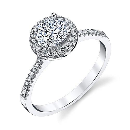 Plata de ley 925 Classic 1 quilates compromiso boda promesa Anillo CZ, plata de ley, 9, QIM025