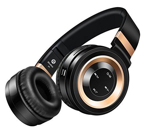 Honstek P6 drahtlose Bluetooth 4.0-Stereo-Kopfhörer, Hifi, faltbar, On-Ear mit Micro, Lautstärkeregler und Audio-Kabel, Unterstützungs-TF-Karte und FM-Radio (Schwarz/Gold)
