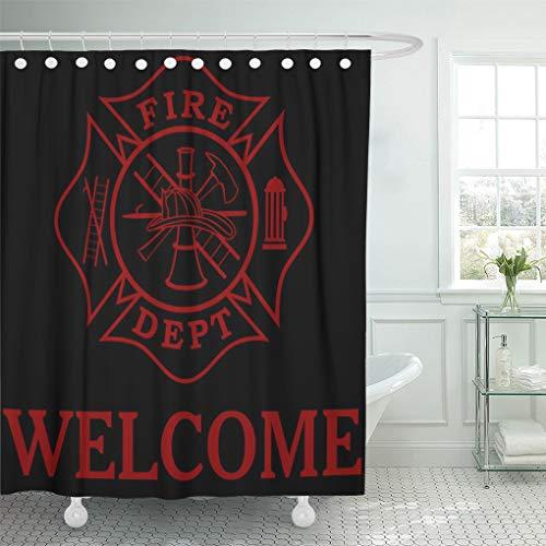 Semtomn Shower Curtain Red Fireman Fire Dept Maltese Cross 24 Firefighter Department 72