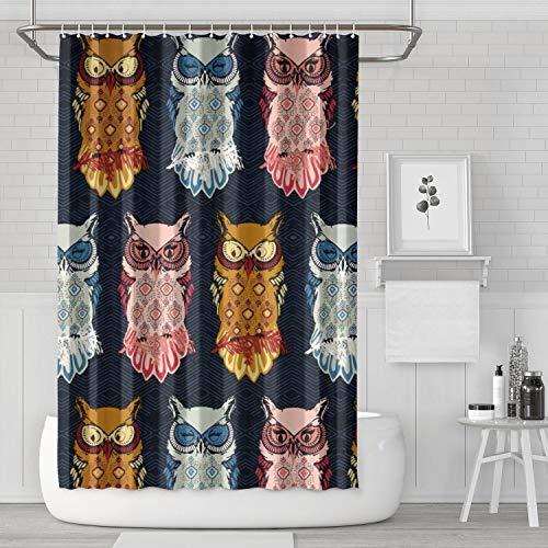 Unicorns Farting Nightfall Bird of Night Owl Bathroom Accessories Classic Bathroom Decor for Bathroom,Printing Bath Curtains ()