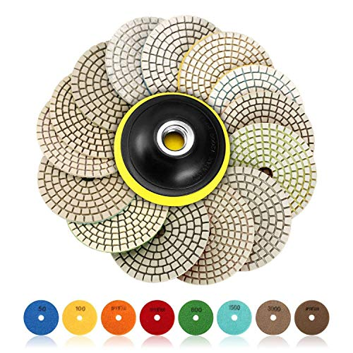SPTA 15pcs Diamond Wet Polishing Pads Set, 4 inch Pads for Granite Stone Concrete Marble Floor Grinder or Polisher, 50#-6000# with Hook & Loop Backing Holder Pads for Wet Polisher Concrete Diamond Polishing Pad