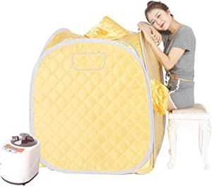 Smartmak Portable Steam Sauna, Personal at Home Remote Control 2L Steamer for Detox & Weight Loss Lightweight Double Person Spa Tent Indoor US Plug-Yellow