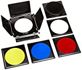 Fotodiox 11-U-Barndoor-Bal Fotodiox Universal Barndoor Kit with Honeycomb Grid (45 Degree) and Color Gels for Balcar, White Lightning, Lighting, X800, X1600, X3200 Strobe Flash Light, Barn Door-Black