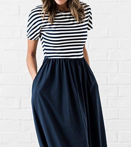 79772ebda6b8 ... Damen Lang Kleid Sommer Freizeit Rundhals Kurzarm Kleider Strandkleider  Tunikakleid Mode Gestreift Spleißen Kleider Maxikleid Partykleid ...