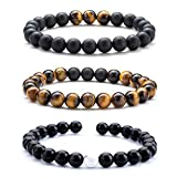 Hamoery Men Women 8mm Tiger Eye Stone Beads Bracelet Elastic Natural Stone Yoga Bracelet Bangle (Set2)