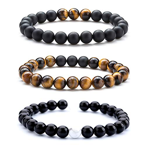Hamoery Men Women 8mm Tiger Eye Stone Beads Bracelet Elastic Natural Stone Yoga Bracelet Bangle (Set2)