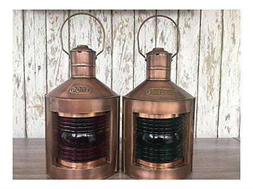 Antique Copper Finish Port & Starboard Lanterns ~ Ship Oil Lamp ~ Nautical Light