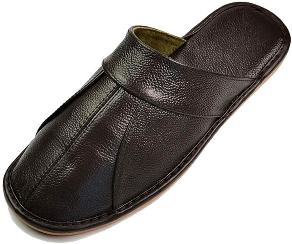 Hombres Zapatillas CóModas Cuero Suave Hecho A Mano del ResbalóN De Punto Negro MarróN Zapatos Planos