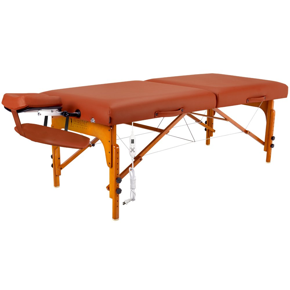 Master Massage Santana Therma Top Memory Foam Portable Massage Table Package, Mountain Red, 31 Inch by Master Massage