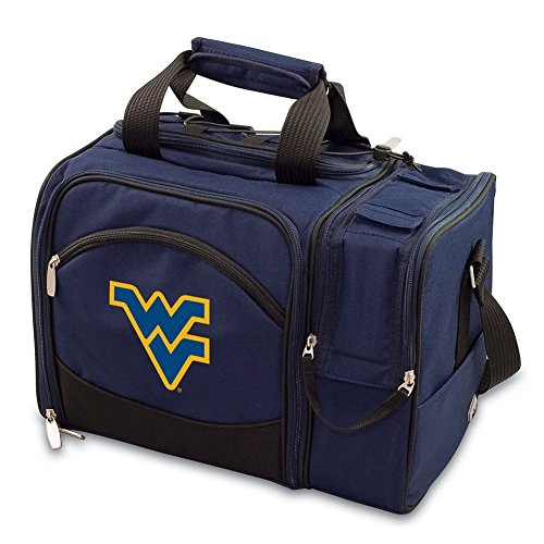 West Virginia Mountaineers Picnic Basket Set For 2 Wine Tote