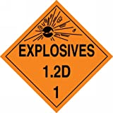 Accuform Signs MPL112VP50 Plastic Hazard Class 1/Division 2D DOT Placard, Legend ''EXPLOSIVES 1.2D 1'' with Graphic, 10-3/4'' Width x 10-3/4'' Length, Black on Orange (Pack of 50)