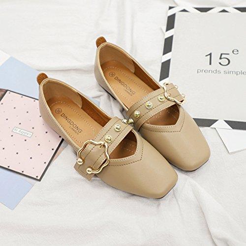 GAOLIM Un Cuadrado Con Fondo Plano Solo Zapatos Femeninos Temporadas De Primavera Y Otoño Zapatos Abuela Fondo Blando De Soja Zapatos Para Mujeres Embarazadas Beige