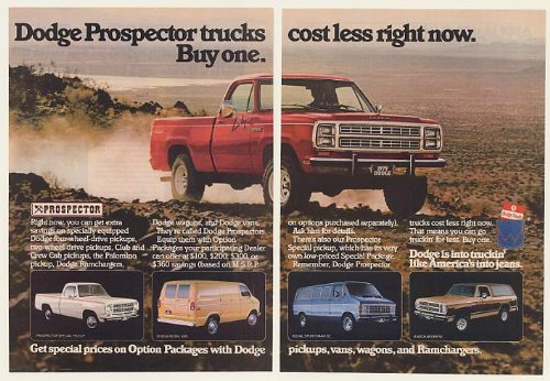 Dodge Ramcharger Truck (1979 Dodge Prospector Pickup Truck Van Ramcharger 2-Page Original Print Ad (47614))