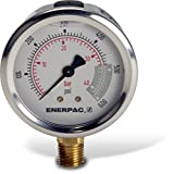 Enerpac G2513L Hydraulic Pressure Gauge with Dual 0 to 600 PSI and 0 to 40 Bar Range, 2-1/2''-Dia. Face, 1/4'' NPTF Male, Lower-Mount Connection