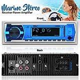 Pyle Marine Bluetooth Stereo Radio - 12v Single DIN Style Boat In dash Radio Receiver System with Built-in Mic, Digital LCD, RCA, MP3, USB, SD, AM FM Radio - Remote Control - PLMRB29W