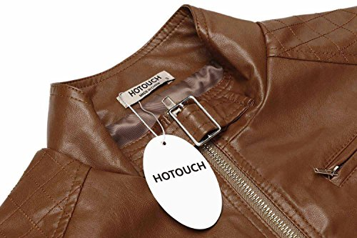 HOTOUCH Womens Faux Leather Zip Up Moto Biker Jacket Coffee M by Hotouch (Image #5)