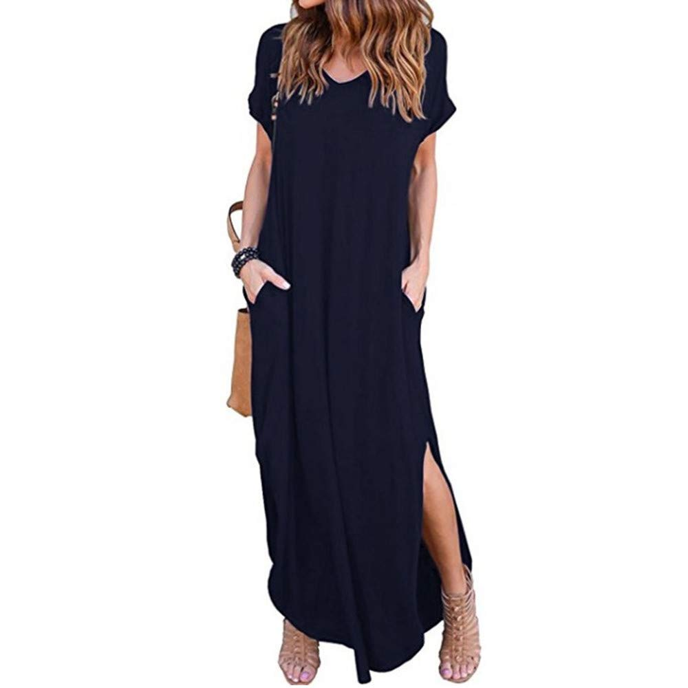 Thenxin Summer Loose Long Dress for Womens Beach Gallus Short Sleeves Floor-Length Skirt (Dark Blue,M) by Thenxin-dress